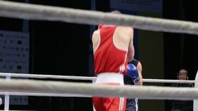 LVIV, UCRANIA - 14 de noviembre de 2017 torneo de encajonamiento Lucha de los boxeadores de Midweight en ring de boxeo almacen de metraje de vídeo