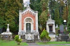 Lviv, Ucrania, septiembre, 16, 2013 Cementerio de Lychakiv - el más viejo de Lviv Foto de archivo