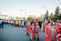 LVIV UKRAINA - APRIL 27, 2016: Passion för helig vecka och död av J arkivbilder