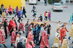 LVIV UKRAINA - APRIL 27, 2016: Passion för helig vecka och död av J royaltyfria foton