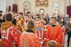 LVIV UKRAINA - APRIL 27, 2016: Passion för helig vecka och död av J royaltyfri foto