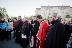 LVIV UKRAINA - APRIL 27, 2016: Passion för helig vecka och död av J royaltyfria bilder