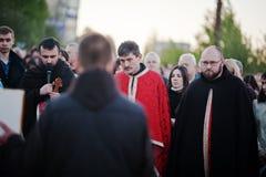 LVIV UKRAINA - APRIL 27, 2016: Passion för helig vecka och död av J arkivfoton
