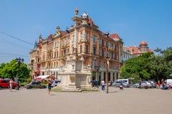 Lviv, Ukraina, 27 2017 Czerwiec Historyczny centrum miasto, rynek w lecie zdjęcia stock