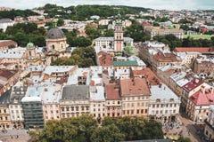 Lviv Ukraina, Czerwiec 26th 2018 Krajobraz Lviv z wierzchu obrazy royalty free