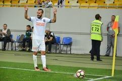 LVIV UKRAINA, JUL, - 25: Gracz futbolu bierze kąt podczas obrazy royalty free