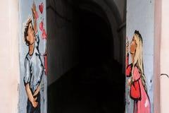 Lviv, UKRAINA, Luty 27, 2017: graffiti w Lviv Zdjęcia Royalty Free