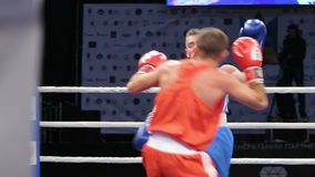 LVIV UKRAINA - November 14, 2017 boxas turnering Midweight boxare med blodig framsidakamp i boxningsring på turnering stock video