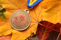 Lviv, Ukraina, Październik/- 7 2018: Medal od jesień dzieciaka ` s rowerowej rasy w Lviv fotografia royalty free