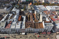 LVIV UKRAINA, PAŹDZIERNIK, - 02, 2016: Lviv miasto od above centrala Zdjęcie Royalty Free