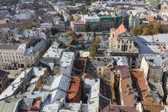 LVIV UKRAINA, PAŹDZIERNIK, - 02, 2016: Lviv miasto od above centrala Obrazy Royalty Free