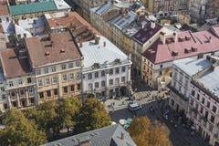 LVIV UKRAINA, PAŹDZIERNIK, - 02, 2016: Lviv miasto od above centrala Obraz Stock
