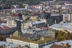 LVIV UKRAINA, PAŹDZIERNIK, - 02, 2016: Lviv miasto od above centrala Obraz Royalty Free
