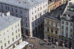 LVIV UKRAINA, PAŹDZIERNIK, - 02, 2016: Lviv miasto od above centrala Obrazy Stock