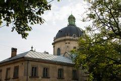 Lviv, Ukraina: Panorama Pidvalna ulica z kopułą Dominikański kościół i drzew obramiać obraz stock