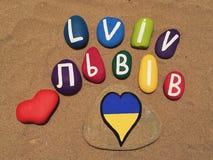 LVIV Ukraina, souvenir på kulöra stenar Arkivbild