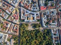 LVIV UKRAINA, WRZESIEŃ, - 12, 2016: Lviv śródmieście z Ivan Franko Krajowym uniwersytetem Lviv i Ivan Franko park zdjęcie stock