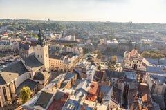 LVIV UKRAINA, WRZESIEŃ, - 08, 2016: Lviv zmierzch i pejzaż miejski Zdjęcie Stock