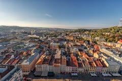 LVIV UKRAINA, WRZESIEŃ, - 08, 2016: Lviv zmierzch i pejzaż miejski Obrazy Stock