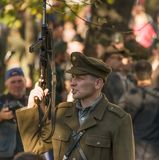 Participant prepare for battle in the city park of the city of L. Lviv, Ukraine – Oktober,14, 2018: Military historical reconstruction is dedicated to The royalty free stock images