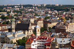 Lviv Ukraine. Bird eye view, Lviv Ukraine Royalty Free Stock Photo