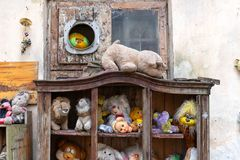 Lviv. Ukraine, April 14, 2019. Museum of old, discarded children`s toys. Travels. Lviv. Ukraine, April 14, 2019. Museum of old discarded children`s toys Travels royalty free stock images