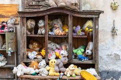 Lviv. Ukraine, April 14, 2019. Museum of old, discarded children`s toys. Travels. Lviv. Ukraine, April 14, 2019. Museum of old discarded children`s toys Travels royalty free stock photos