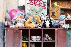 Lviv. Ukraine, April 14, 2019. Museum of old, discarded children`s toys. Travels. Lviv. Ukraine, April 14, 2019. Museum of old discarded children`s toys Travels royalty free stock photo