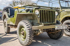 LVIV, UKRAINE - APRIL, 2016: Old retro vintage military vehicle jeep convertible Stock Images