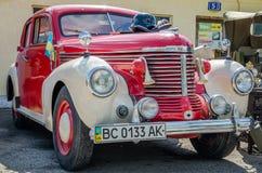 LVIV, UKRAINE - APRIL, 2016: Old vintage retro car with chrome parts Royalty Free Stock Photos