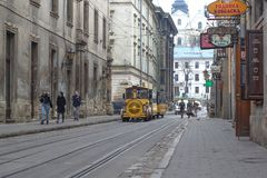 Free Lviv, Ukraine - August 4, 2018 Sightseeing Train In Lviv Royalty Free Stock Photography - 131967527