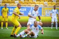 Lviv , Ukraine - August 10, 2018: Adam Nemec and Juraj Kucka during group selection of the UEFA Nations League between the nation. Al teams of Slovakia and stock image