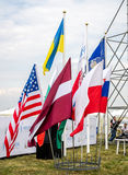 Lviv, Ukraine - August 2015: FAI European championships for space models 2015. Flags of the participating teams Royalty Free Stock Images