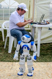 Lviv, Ukraine - August 2015: FAI European championships for space models 2015. The robot Noosphe managed by the operator remotely Stock Photography