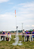 Lviv, Ukraine - August 2015: FAI European championships for space models 2015. Start model rocket Stock Photos