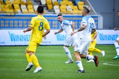 Lviv , Ukraine - August 10, 2018: Ruslan Malinovskyi during group selection of the UEFA Nations League between the national teams. Lviv , Ukraine - August 10 stock images