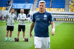 Lviv , Ukraine - August 10, 2018: Juraj Kucka during group selection of the UEFA Nations League between the national teams. Of Slovakia and Ukraine on the Arena royalty free stock photography
