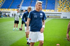 Lviv , Ukraine - August 10, 2018: Juraj Kucka during group selection of the UEFA Nations League between the national teams. Of Slovakia and Ukraine on the Arena royalty free stock images