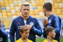 Lviv , Ukraine - August 10, 2018: Juraj Kucka during group selection of the UEFA Nations League between the national teams. Of Slovakia and Ukraine on the Arena royalty free stock photos