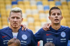 Lviv , Ukraine - August 10, 2018: Juraj Kucka and Lubomir Satka. During group selection of the UEFA Nations League between the national teams of Slovakia and stock image