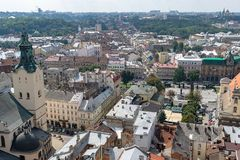 The center of Lviv Stock Images