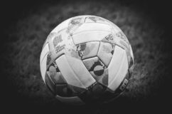 Lviv , Ukraine - August 10, 2018: The official balls of the UEFA Nations League close-up lies on the lawn during group selection stock image