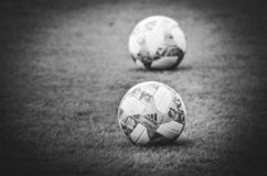 Lviv , Ukraine - August 10, 2018: The official balls of the UEFA Nations League close-up lies on the lawn during group selection stock photo