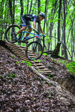 Lviv, Ukraine - August 17, 2016: 4th round of amateur xc cup of Ukraine 2016. Lviv, Ukraine - August 17, 2016: MTB cyclist V. Skubenko competing in the forest Royalty Free Stock Images