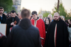LVIV, UKRAINE - 27 AVRIL 2016 : Passion de semaine sainte et mort de J Photos stock