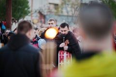 LVIV, UKRAINE - 27 AVRIL 2016 : Passion de semaine sainte et mort de J Images stock
