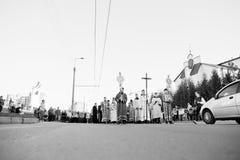LVIV, UKRAINE - 27 AVRIL 2016 : Passion de semaine sainte et mort de J Photographie stock libre de droits