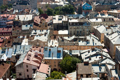 Lviv, Ukraine. Beautiful top view with roofs of old european town from the city hal Royalty Free Stock Photography