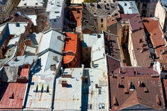Lviv, Ukraine. Beautiful top view with roofs of old european town from the city hall. Stock Image