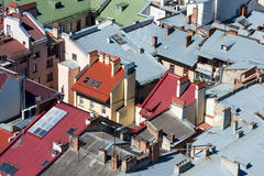 Lviv, Ukraine. Beautiful top view with roofs of old european town from the city hall. Stock Images